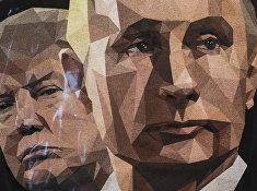 Портреты президентов США и России Дональда Трампа и Владимира Путина на футболках