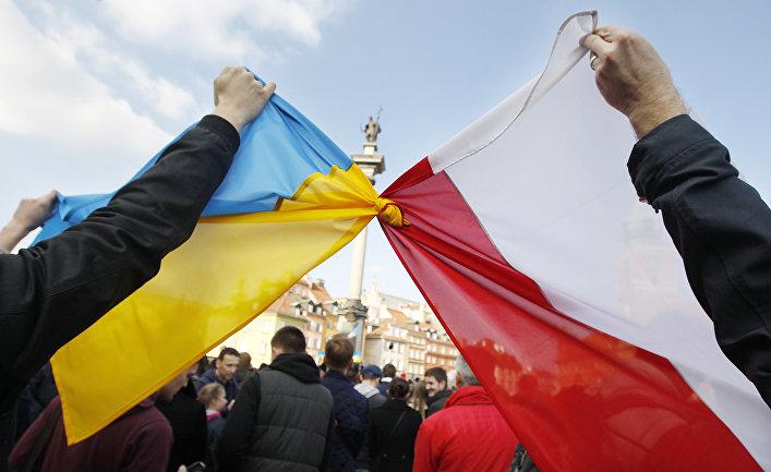 Флаги Польши и Украины во время демонстрации в поддержку оппозиционного движения на Украине