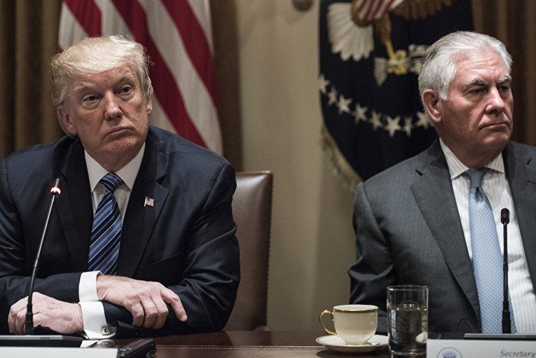 Президент США Дональд Трамп и Госсекретарь Рекс Тиллерсон в Белом доме в Вашингтоне. 30 июня 2017