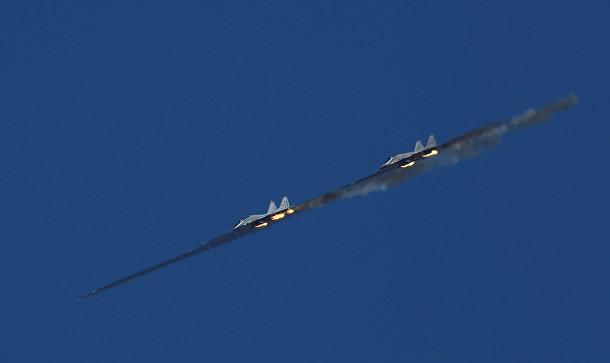 Истребители МиГ-29 на международных армейских играх 2017 на полигоне Ашулук