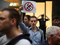 Акция протеста против президента США Дональда Трампа у Трамп-Тауэр на Манхэттене