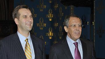 Министры иностранных дел России и Латвии Сергей Лавров и Марис Риекстиньш