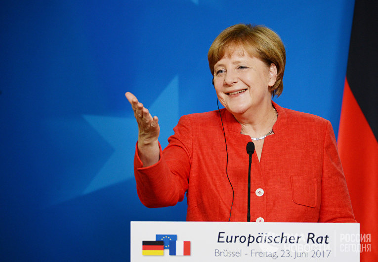 Канцлер ФРГ Ангела Меркель на саммите государств и правительств стран-участниц Европейского союза в Брюсселе. 23 июня 2017