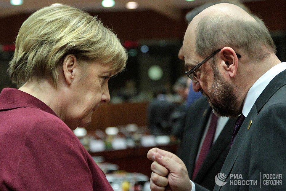Канцлер ФРГ Ангела Меркель и президент Европейского парламента Мартин Шульц