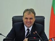 Президент Приднестровской Молдавской Республики Евгений Шевчук на пресс-конференции членов правительства ПМР