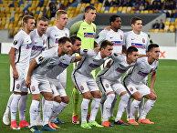 Игроки ФК «Заря» перед футбольным матчем Лиги Европы с «Эстерсундом» во Львове