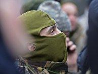 """Бойцы 24-го отдельного штурмового батальона Вооруженных сил Украины """"Айдар"""" во время митинг"""