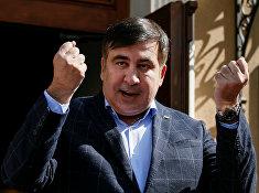 Бывший президент Грузии, экс-губернатор Одесской области Михаил Саакашвили во время пресс-конференции во Львове