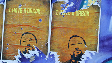 Портрет Авигдора Либермана на стене в Тель-Авиве