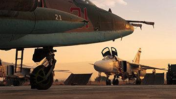 Самолеты ВКС РФ на авиабазе Хмеймим в Сирии