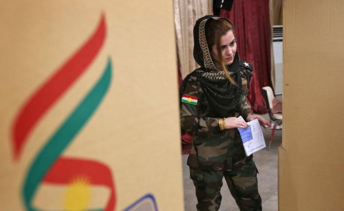Референдум о независимости Курдистана на избирательном участке в Арбиле