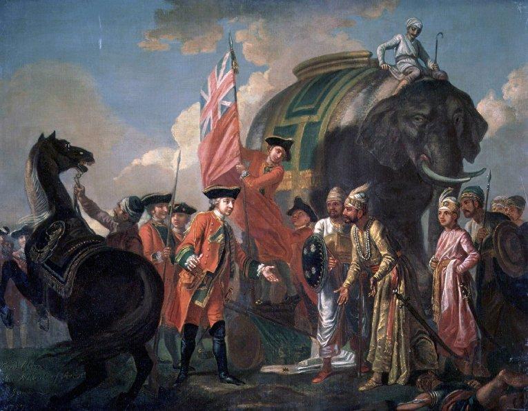 Встреча лорда Клайва с Миром Джафаром после битвы при Плесси