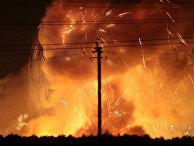 Пожар на военной базе в городе Калиновка в Винницкой области