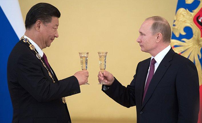 Встреча президента РФ В. Путина и председателя КНР Си Цзиньпина в Москве