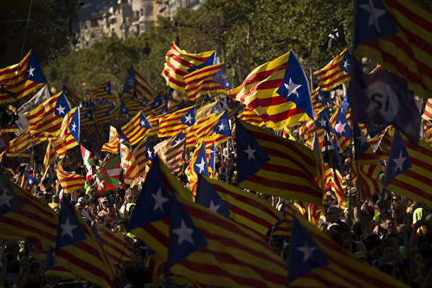 Акция протеста в Барселоне
