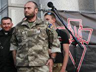 Дмитрий Ярош на митинге «Правого сектора» в центре Киева