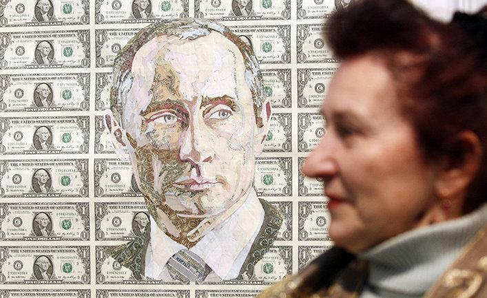Портрет президента РФ Владимира Путина в Киеве