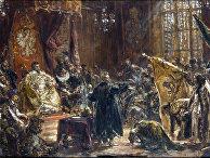 Русский царь Василий Шуйский приносит вассальную присягу королю Польши Сигизмунду III.