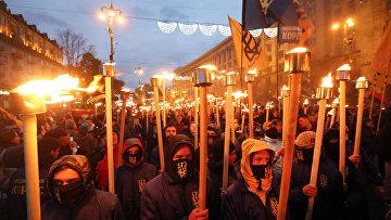 Марш по случаю 75-й годовщины создания Украинской повстанческой армии (запрещено в РФ) в Киеве, Украина. 14 октября 2017