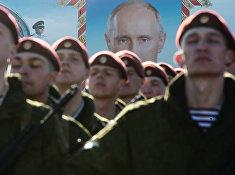 Тренировка военнослужащих дивизии им. Дзержинского к Параду Победы