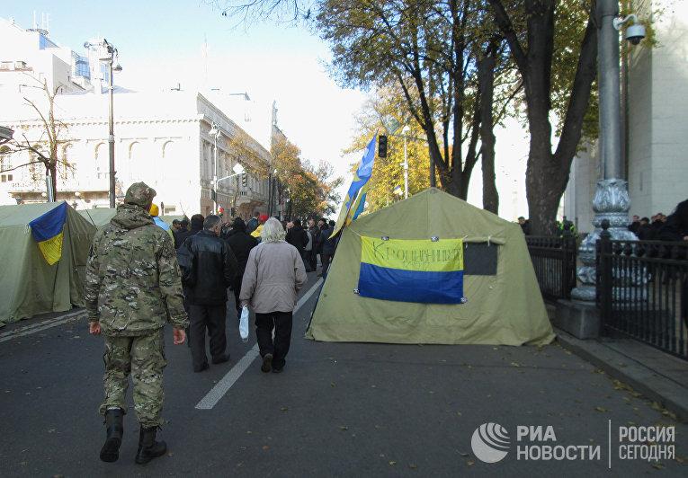 Акция протеста у здания Верховной рады Украины. 19 октября 2017