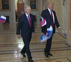 Трампа забросали российскими флагами