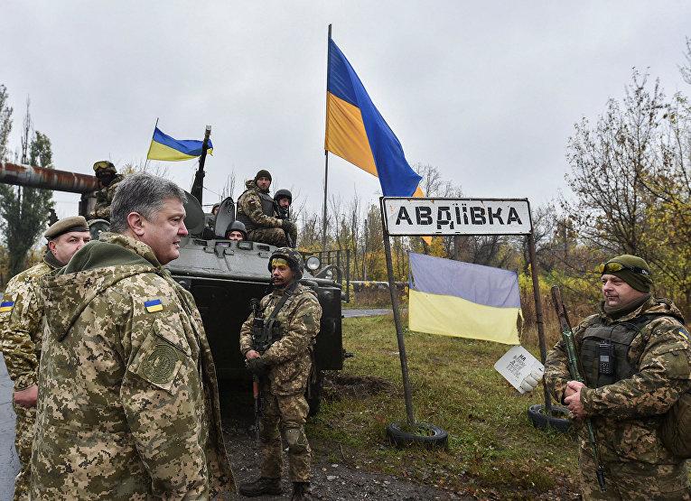 Президент Украины Петр Порошенко на позициях 72-й механизированной бригады в Авдеевке