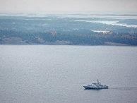Шведский минный тральщик HMS KULLEN в водах Стокгольмского архипелага 19 октября 2014