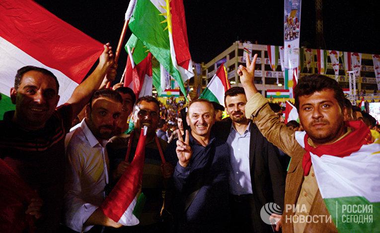 """Сторонники независимого Иракского Курдистана на """"Фестивале независимости"""" на стадионе """"Франсо Харири"""" в Эрбиле. 22 сентября 2017"""