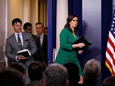Пресс-секретарь Белого дома Сара Хакаби Сандерс во время ежедневного брифинга в Белом доме