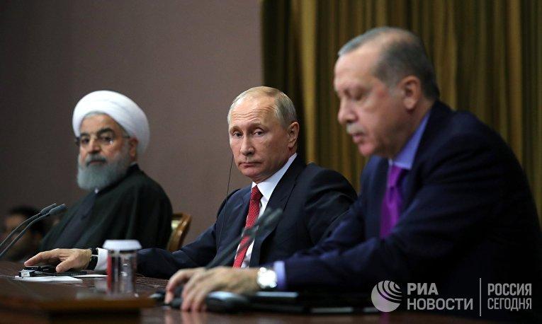 Встреча Владимира Путина с Хасаном Роухани и Реджепом Эрдоганом
