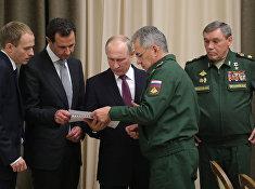 Рабочая встреча президента РФ В. Путина с президентом Сирии Б. Асадом