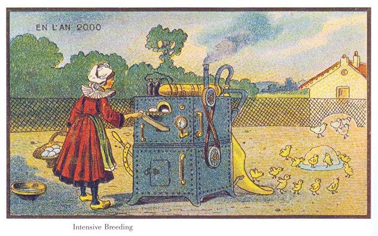 Карточка серии «Франция в 2000 году» — «Машина для интенсивного высиживания куриных яиц»