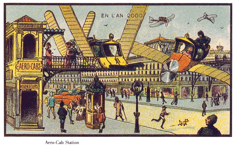 Карточка серии «Франция в 2000 году» — «Станция аэрокэбов»