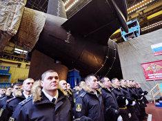 Торжественная обряд спуска для воду нового стратегического атомного подводного крейсера