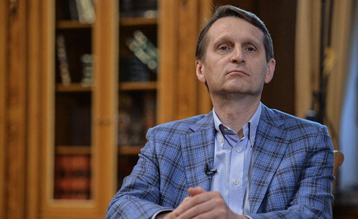 Председатель Государственной Думы РФ Сергей Нарышкин во время интервью в Госдуме РФ