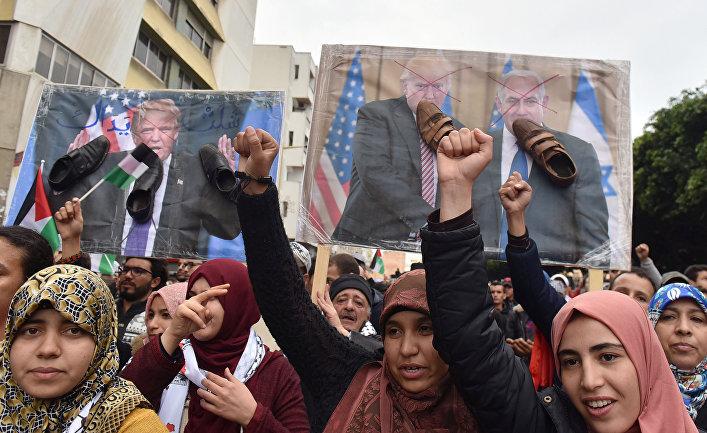 Демонстрация в столице Марокко Рабате в поддержку Палестины и против решения президента США Дональда Трампа по Иерусалиму