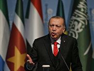 Президент Турции Реджеп Тайип Эрдоган на пресс-конференции по итогам чрезвычайного саммита Организации исламского сотрудничества в Стамбуле. 13 декабря 2017