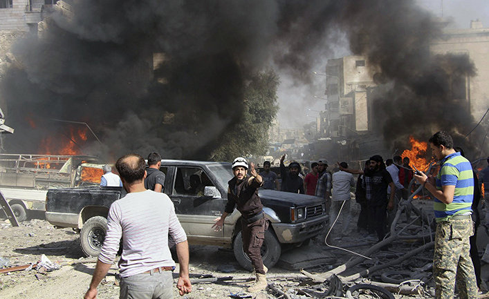 Последствия авиаудара в Идлибе, Сирия