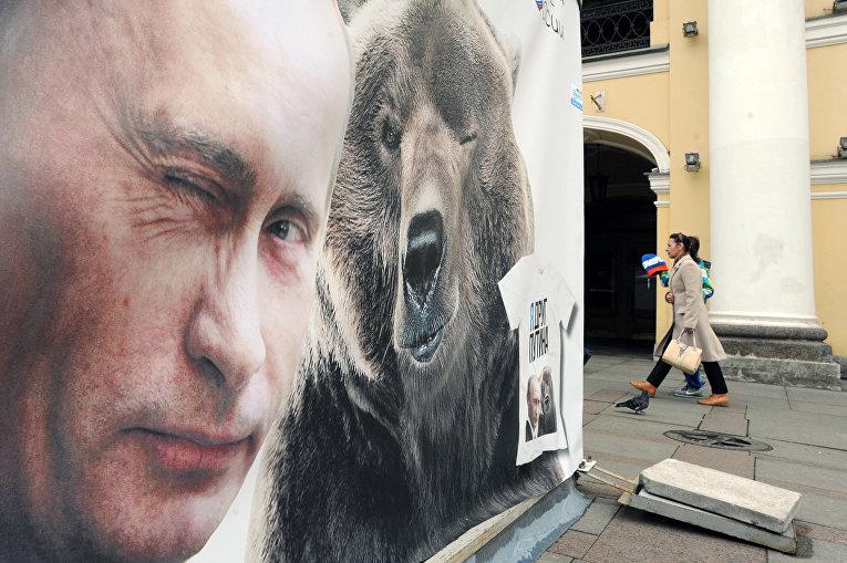 Плакат с изображением президента России Владимира Путина и медведя в Санкт-Петербурге