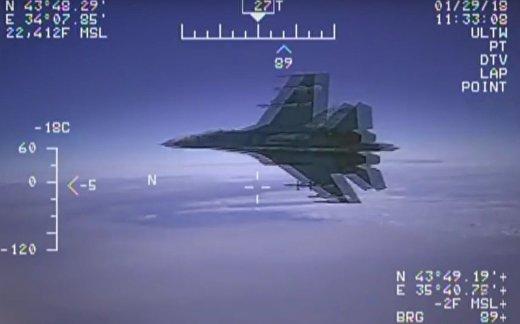 Су-27 перехватил американский самолет