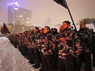 Добровольцы военизированного подразделения «Национальные дружины» в Киеве