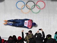 Скелетонист Джерри Райс из Великобритании во время финала мужского скелета на зимних Олимпийских играх 2018