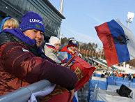 Олимпиада 2018. Президент Федерации лыжных гонок России Елена Вяльбе во время соревнований лыжников на дистанции 15 км