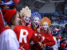 Болельщики во время матча Россия - США по хоккею среди мужчин группового этапа на XXIII зимних Олимпийских играх.